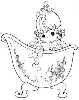 Free Colouring Pages Bubbles And Bathtub Precious Moments