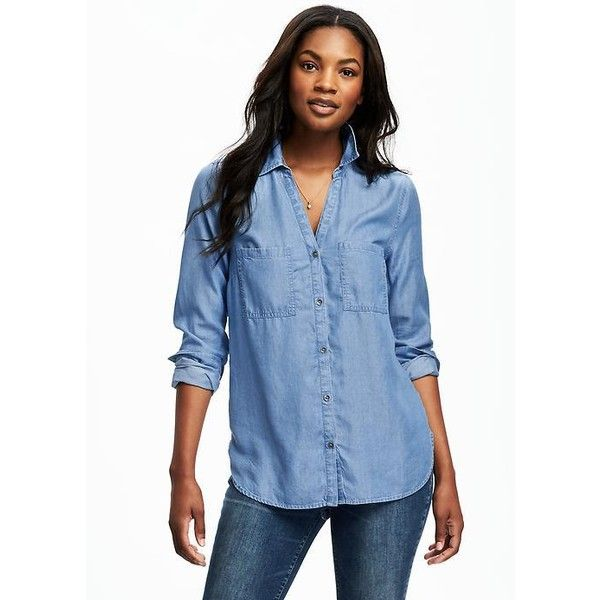 Old navy womens classic chambray tencel shirt featuring for Chambray shirt women