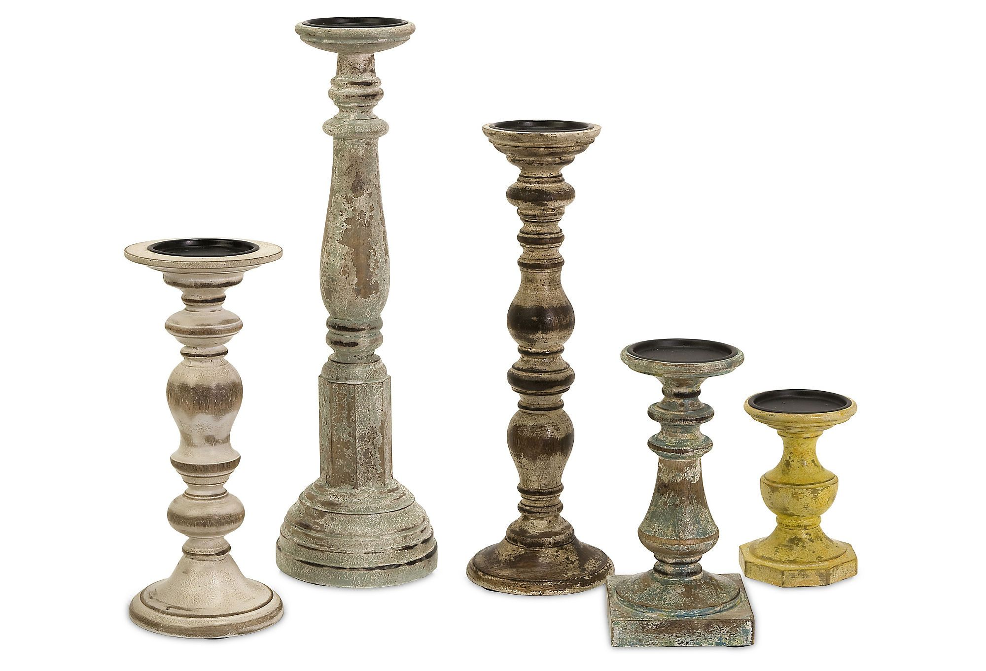 One kings lane buyersu picks distressed candleholders asst of