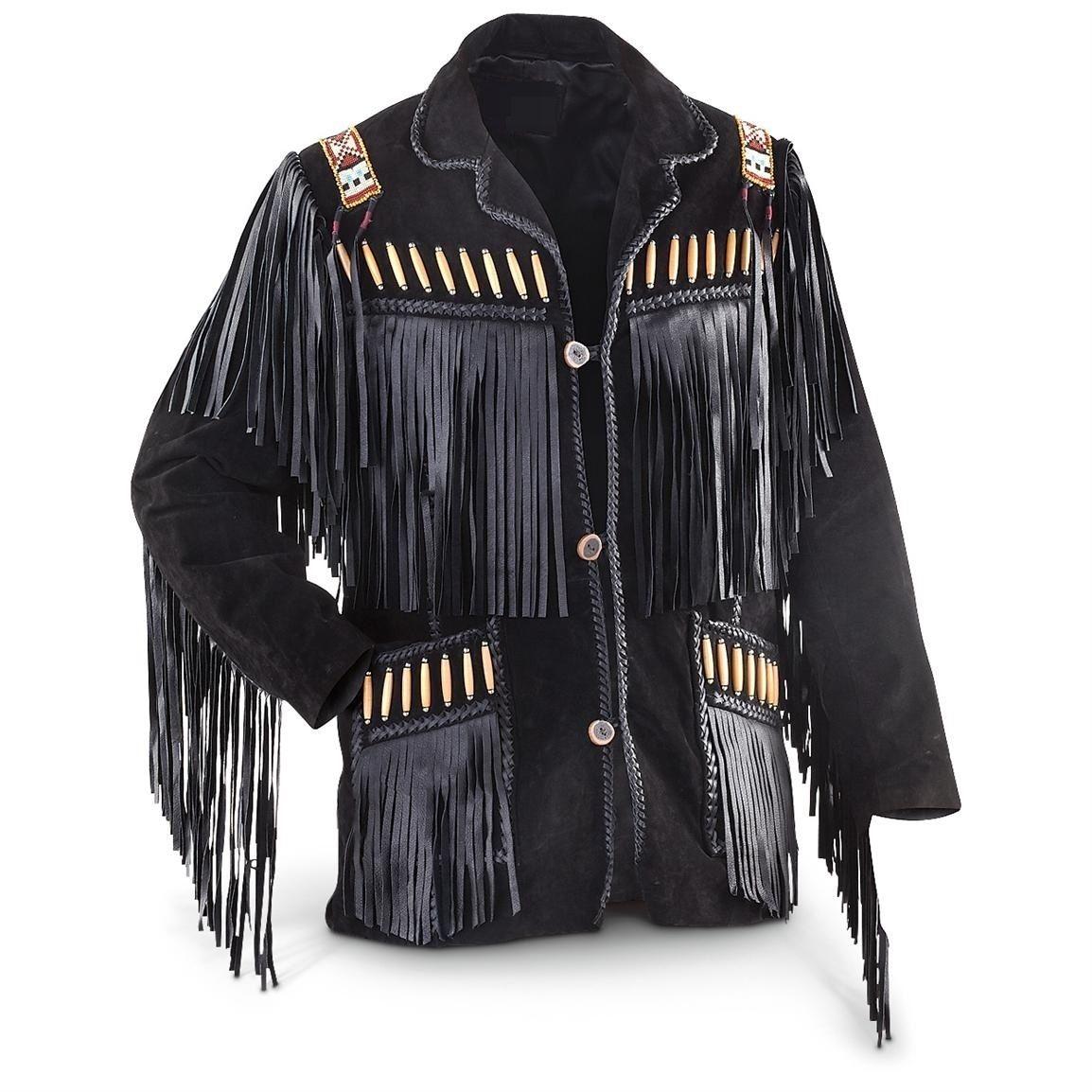 New Handmade Men's Black Western Cowboy Fringes Genuine