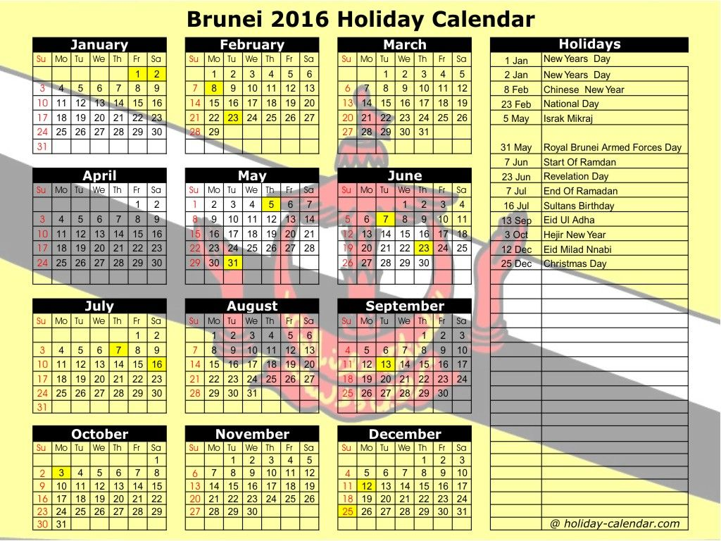 Brunei 2019 / 2020 Holiday Calendar Holiday calendar