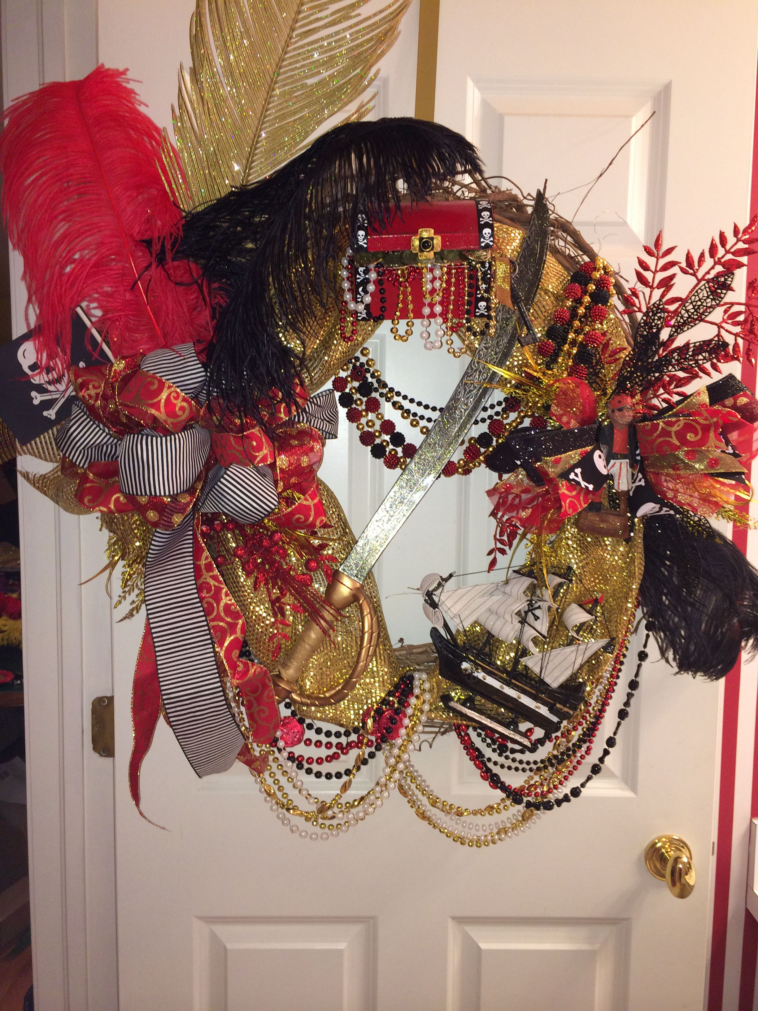 Large Black Red And Gold Gasparilla Wreath Wreaths