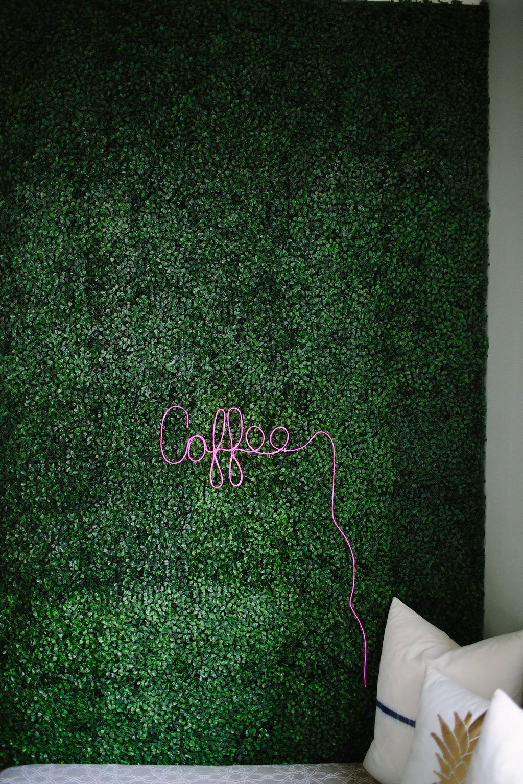 artificial boxwood accent wall and diy neon sign diy on interior using artificial boxwood panels with flowers id=70972
