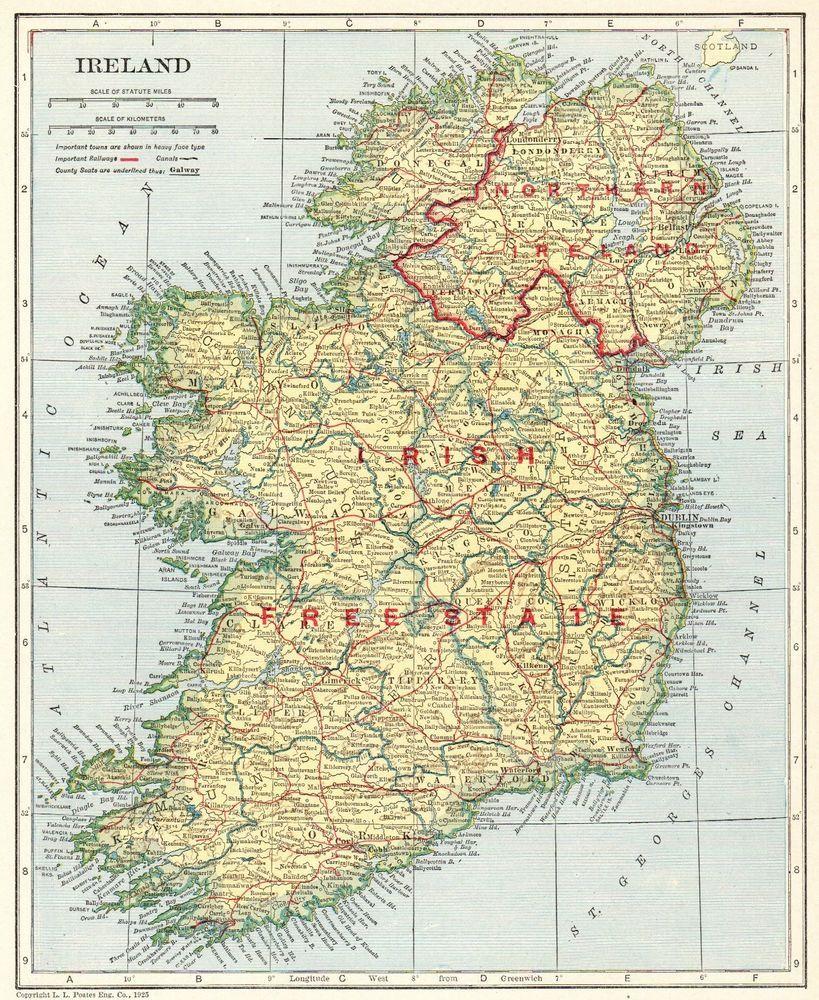1925 Antique IRELAND Map Original Vintage Map of Ireland Gallery ...