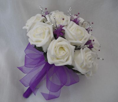 Posy Bouquet In Ivory Purple And Silver Brides Wedding Flowers