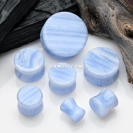 A Pair of Blue Lace Agate Stone Double Flared Ear Gauge Plug – BM25.com