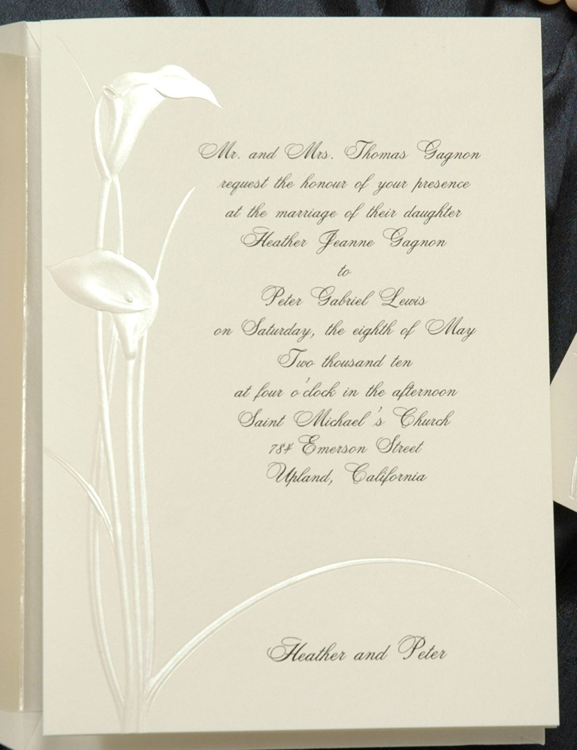 This soft white folder is decorated with beautiful pearl calla ...