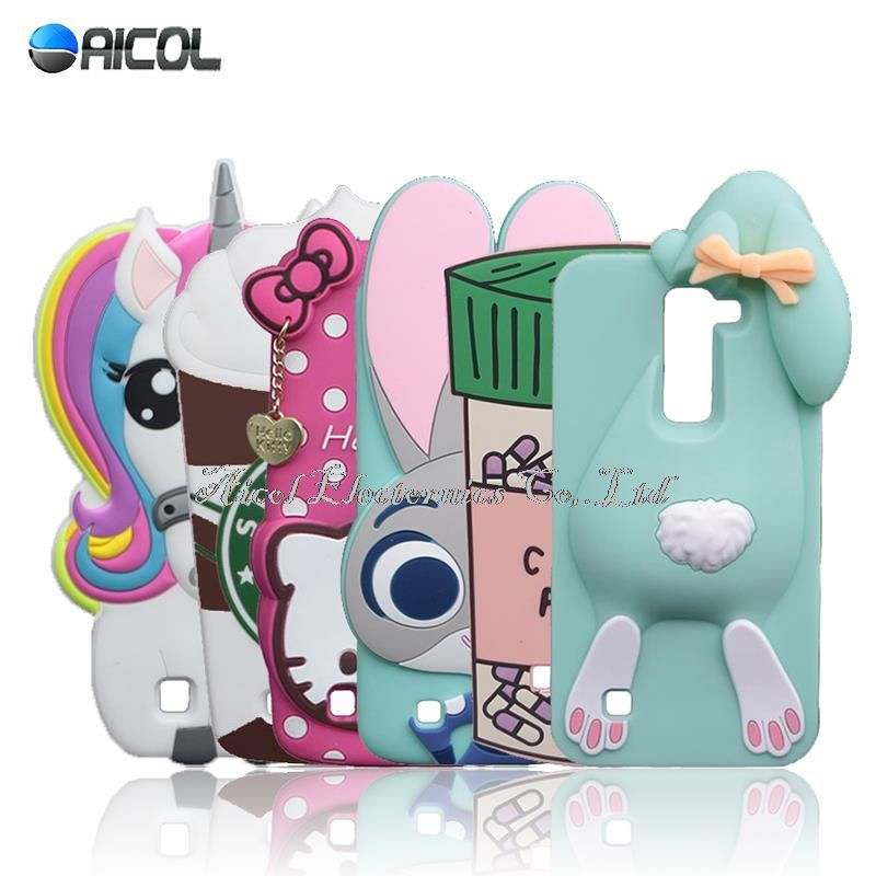 024fc80e9ac New 3D Cartoon Rabbit Silicone Case For LG K7 Q7 X210 MS330/LG K8 Lte K350  K350N Case Minnie Beans Sulley Horse Bunny Soft Cover