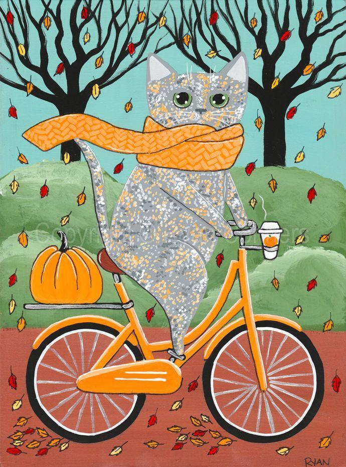 Dilute Grey Tortie Halloween Bicycle Ride Cat Original Cat