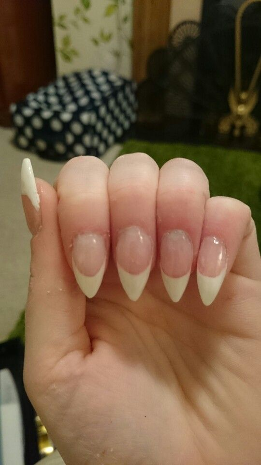 Hand sculptured almond acrylics in a classic French, classy and ...