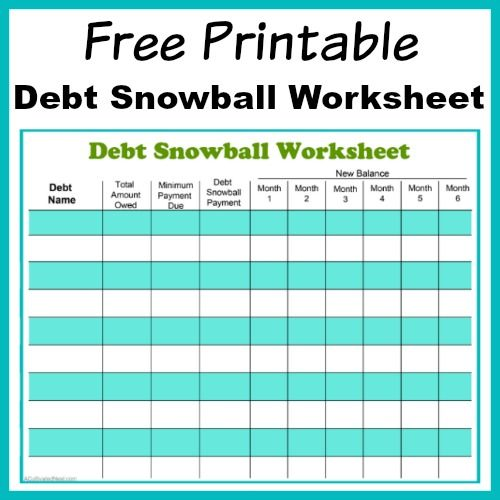 Free Printable Debt Snowball Worksheet- Pay Down Your Debt