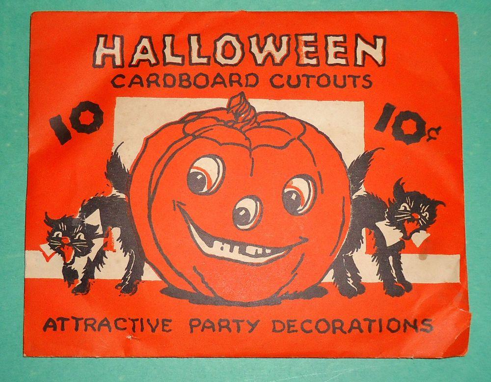 Original Vintage 1930s SEALED Set Of 10 FERN BISEL PEAT Halloween Unknown Maker
