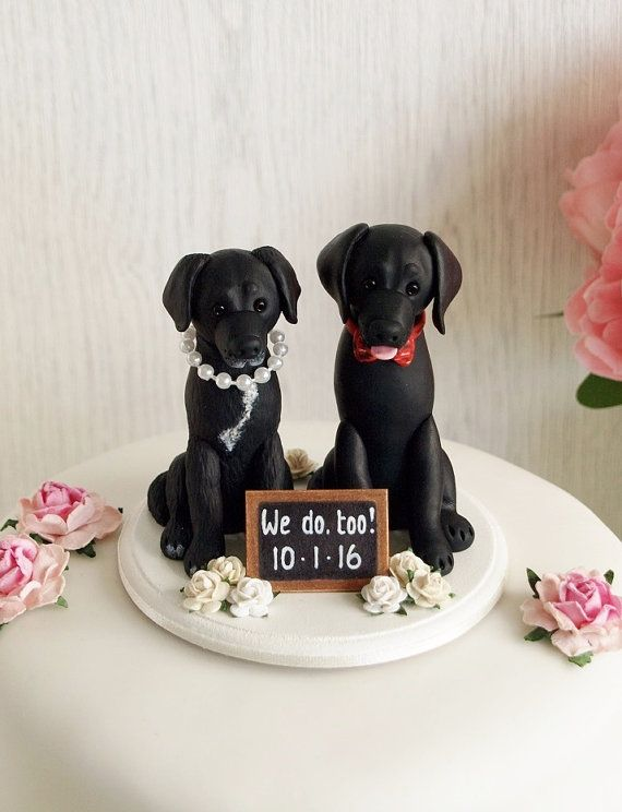 Dog Cake Topper Dog Wedding Cake Topper Two by TiaLovesArchie     Dog Cake Topper Dog Wedding Cake Topper Two by TiaLovesArchie