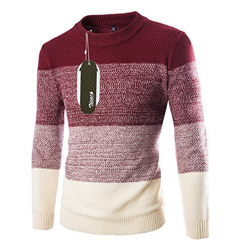 Men/'s Knitted Jumper Crew Neck Winter Pullover Sweater Sweatshirt Warm Tops UK