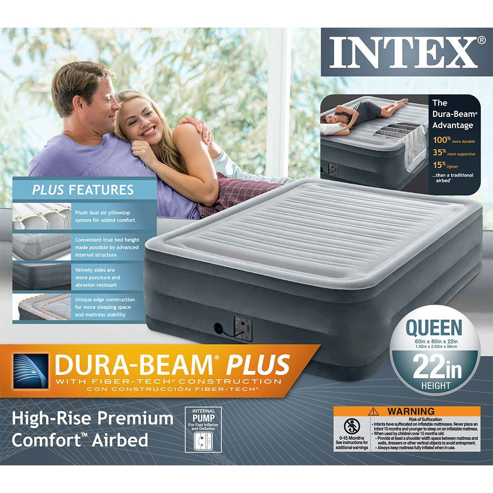 Intex 22 Queen Comfort Plush High Rise Durabeam Air Bed With Built In Pump Walmart Com Intex Air Bed Amazon Bedding