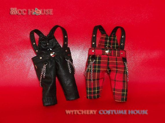 Tiny Punk Overalls the star in Red tartan for Lati Yellow Pukifee
