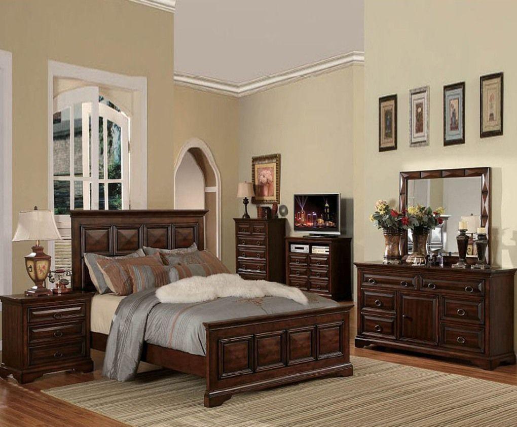 Rustic Bedroom Interior Design With Sleek Antique Vanity