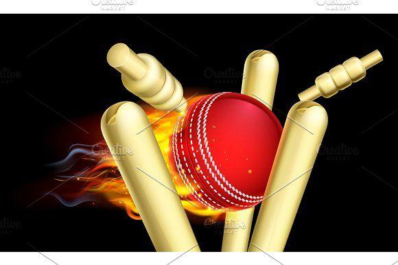 Flaming Cricket Ball Hitting Wicket Stumps Cricket Balls Wicket Cricket