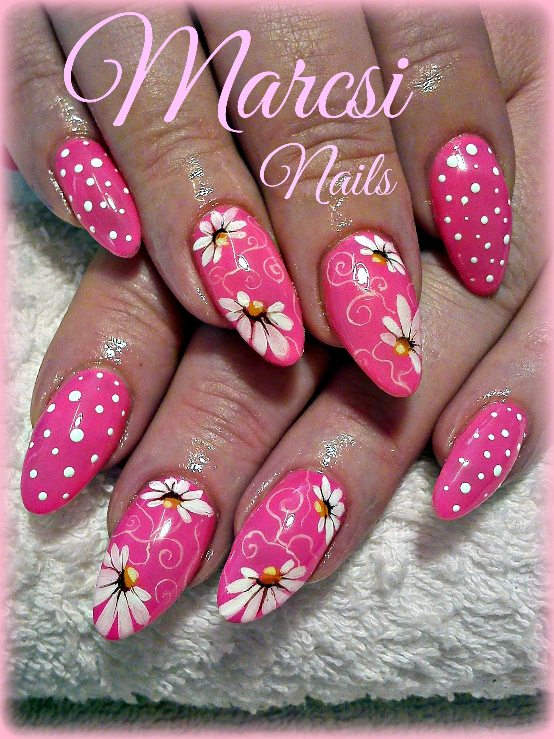 Pink Flower Nail Art A Good For Nailart Design Pinterest