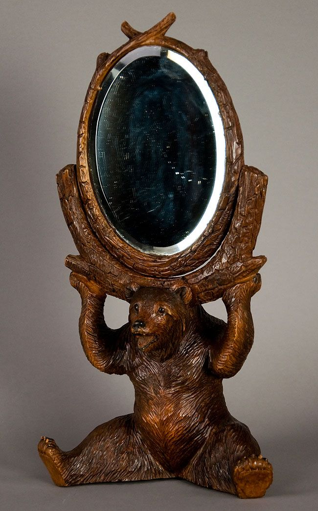 Wonderful Carved Wood Bear Holding A Mirror Swiss 1900 In