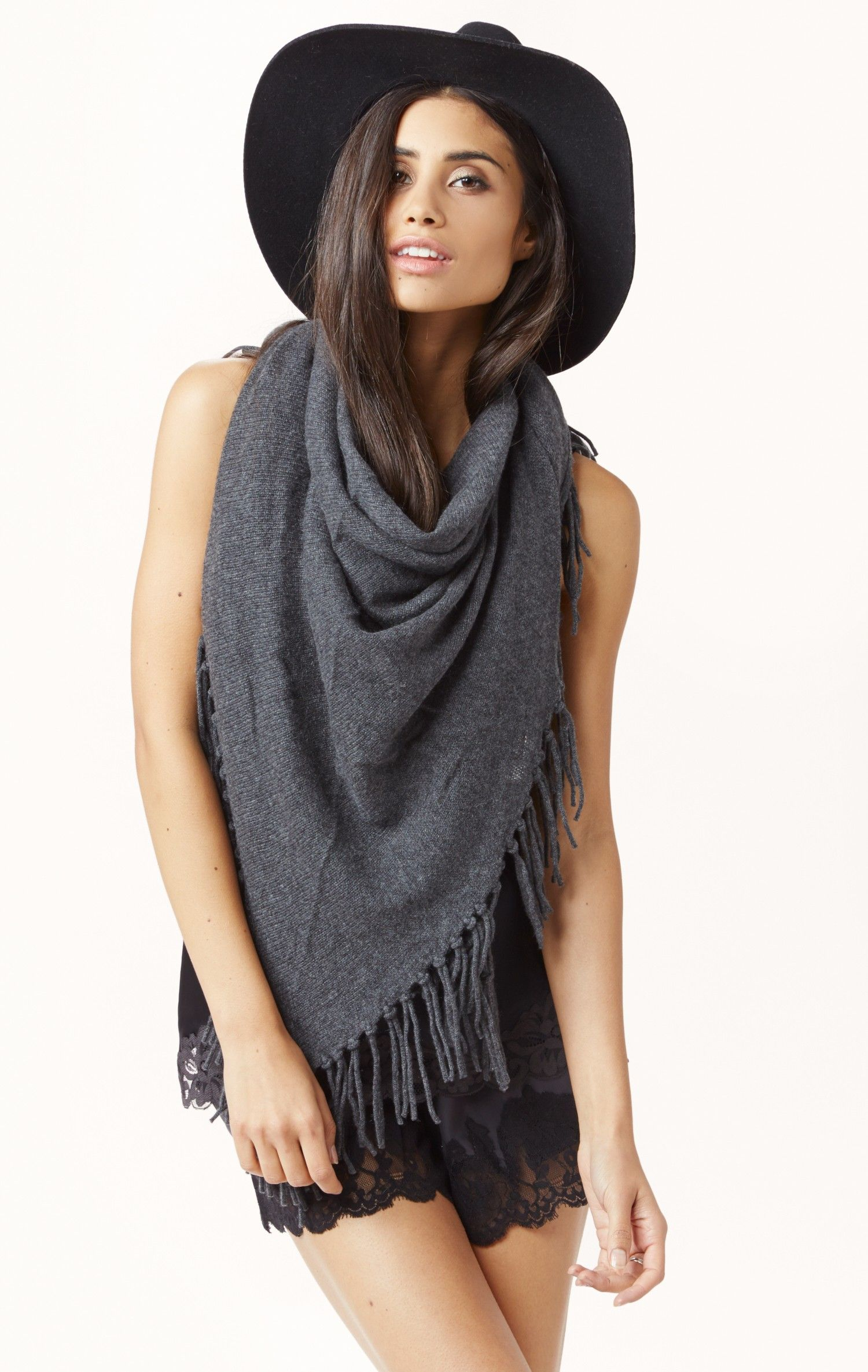 fringe cashmere shawl by MINNIE ROSE #planetblue