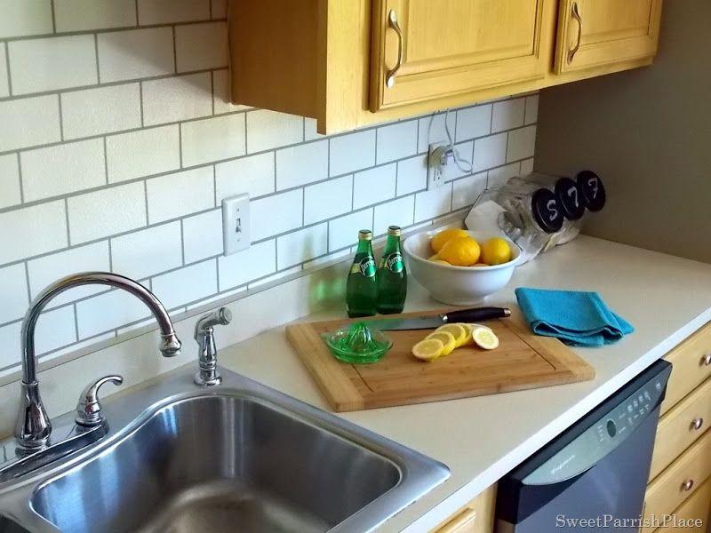 Faux Subway Tile Painted Kitchen Backsplash For The Home