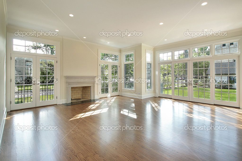 wall of windows | Living room with wall of windows - Stock Image ...