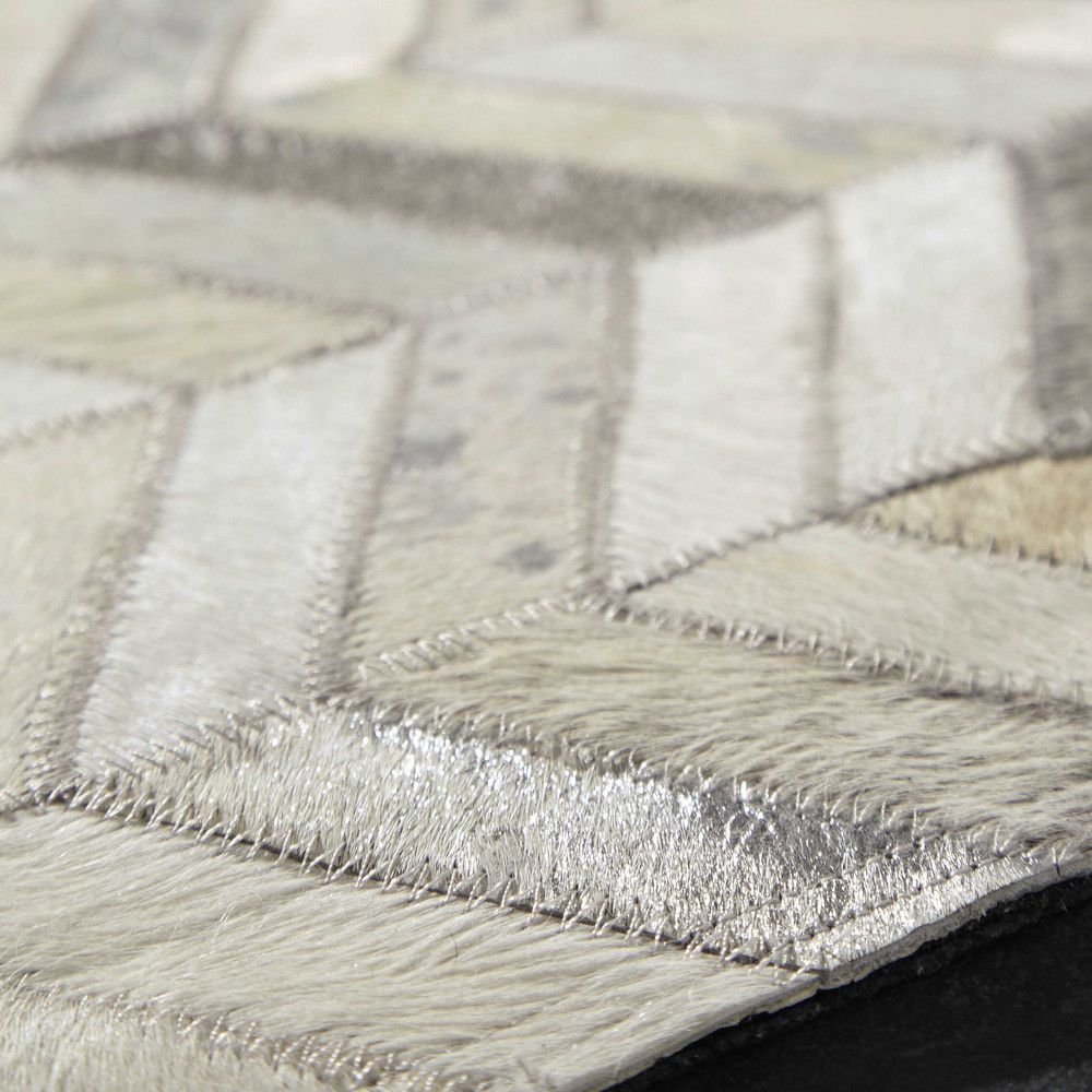 Zigzag Leather Rug In Silver 160 X Tapis Cuir Tapis Mobilier De Salon