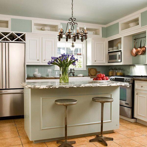 Kitchen Soffit Ideas: Kitchen:Traditional Chandelier Modern Fridge White Kitchen