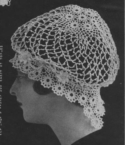 Vintage  Visage crochet pattern-1900s very old pretty crochet lace hat pattern