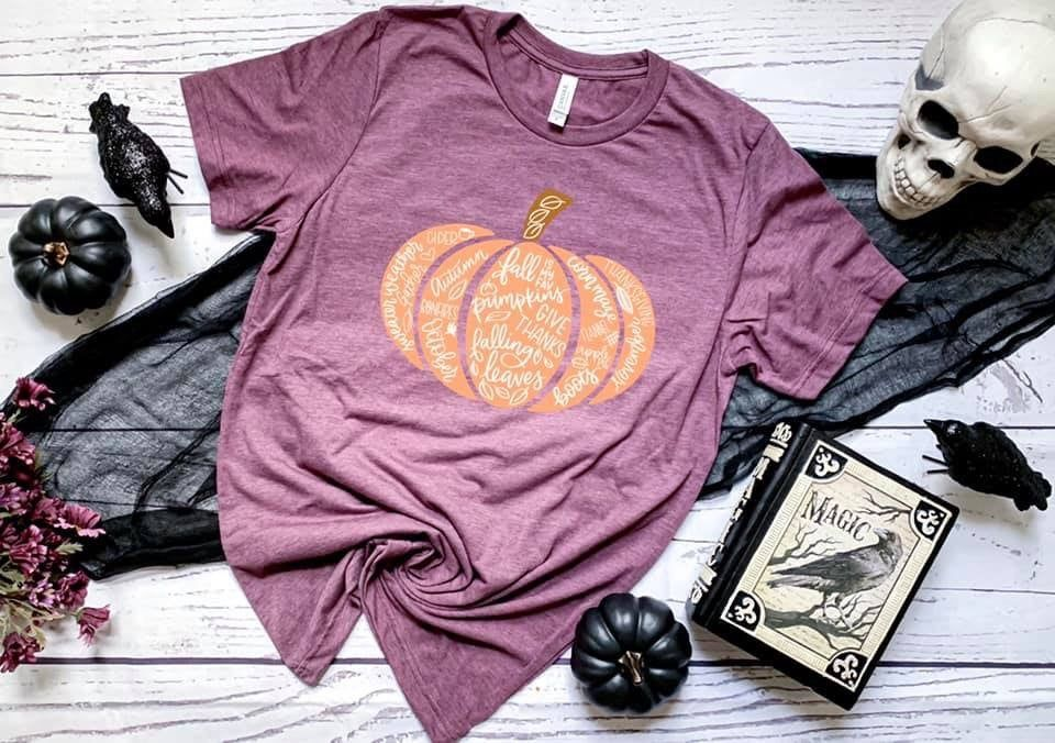 Halloween Distressed Orange Pumpkin T-shirt #hellofall