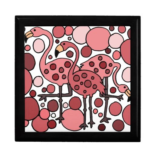 Funky Flamingo Art Gift Boxes #flamingos #art #birds #giftboxes And www.zazzle.com/inspirationrocks*
