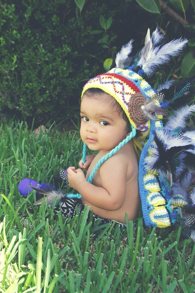 Little indian, baby boy, portrait, photography, crochet