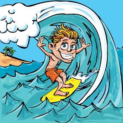 Cartoon boy surfing a wave in the sea Stock Photo - 9290111