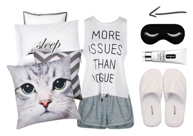 """""""#54"""" by yrios ❤ liked on Polyvore featuring Serena & Lily, rag & bone/JEAN, Kiki de Montparnasse, GANT, M&Co, Clinique, white, black, sleep and gray"""