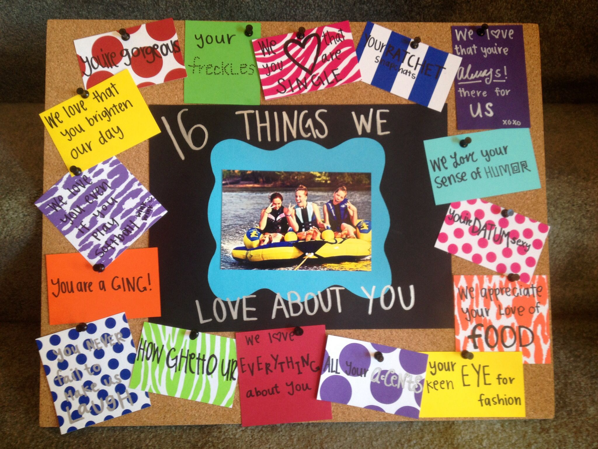 "Sweet 16 birthday t idea ""16 things we love about you"""