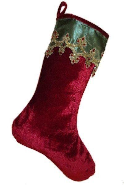 Red Velvet Christmas Stockings.Velvet Christmas Stocking Gold Glitter Applique Cottage