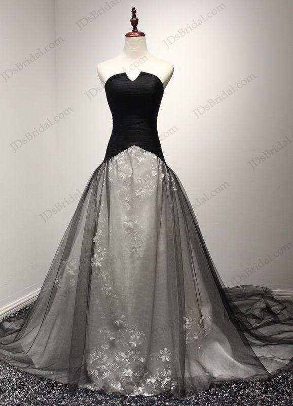 JW16201 Unique notch neckline black and white ball gown wedding ...