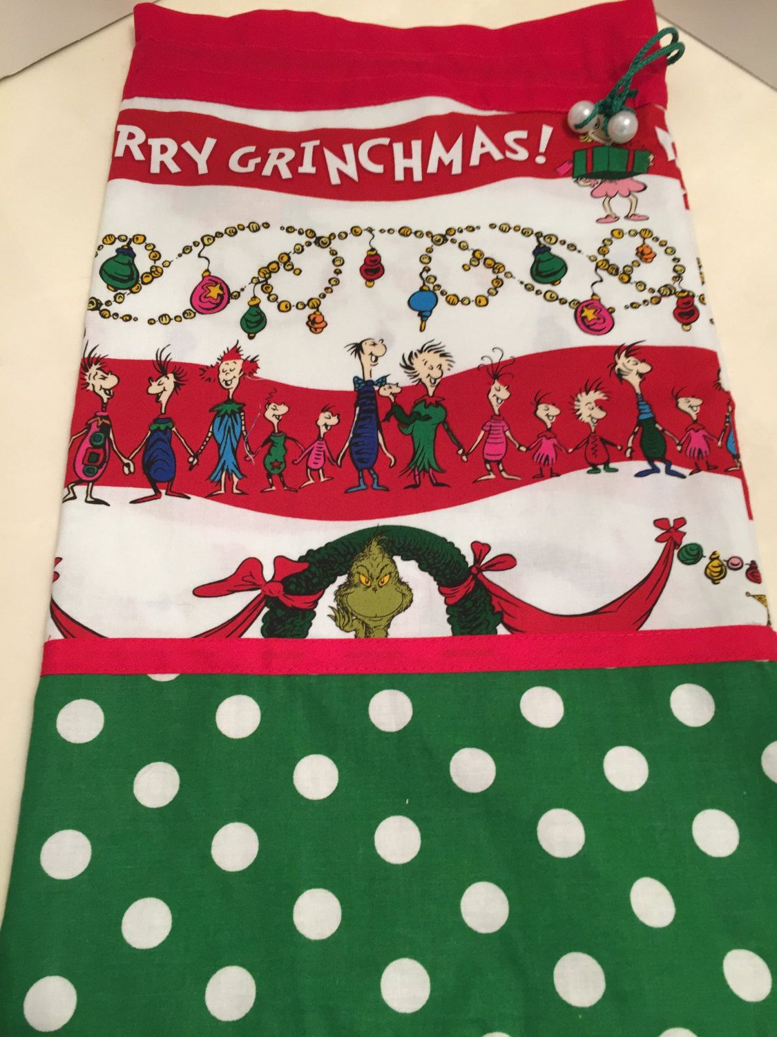 the grinch cartoon character children gift wrap christmas gift bag cotton fabric large cloth bag drawstring bag birthday dr seuss pinned by