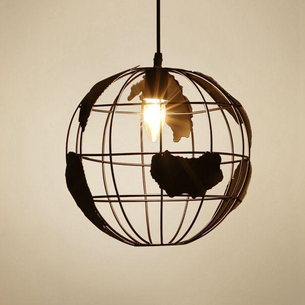 Home Office Lighting Fixtures: Modern World Map Globe Pendant Chandelier Hanging Lamp