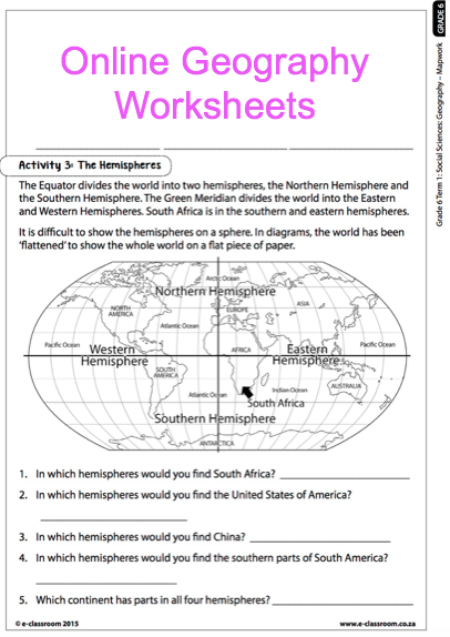 grade 6 online geography worksheets map work for more worksheets visit www e. Black Bedroom Furniture Sets. Home Design Ideas
