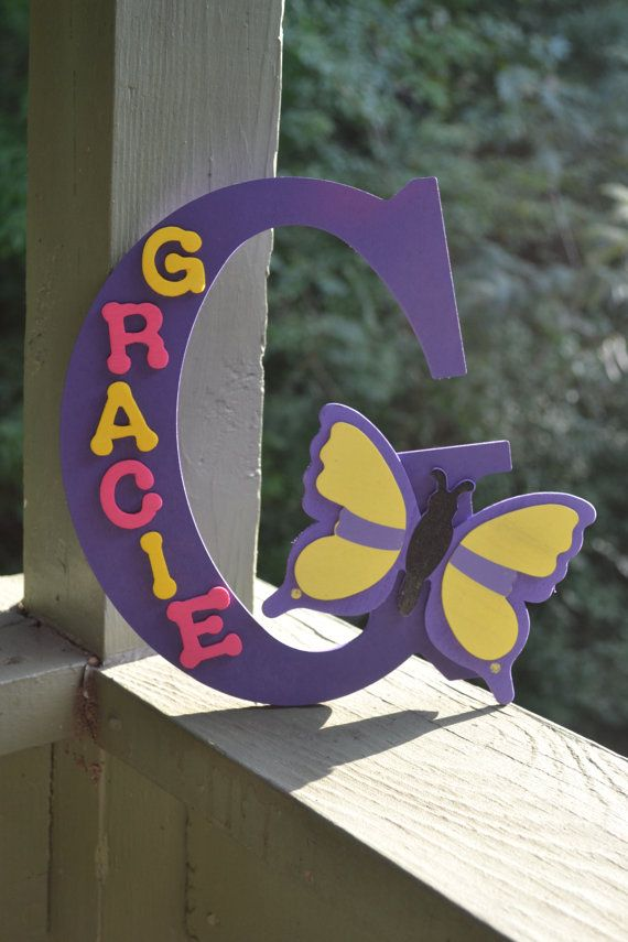 Nursery Decor Personalized Letter Wooden Letters Butterfly party