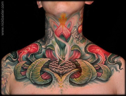 Tattooist Tattoos Full Of Color Neck Tattoos By Nick