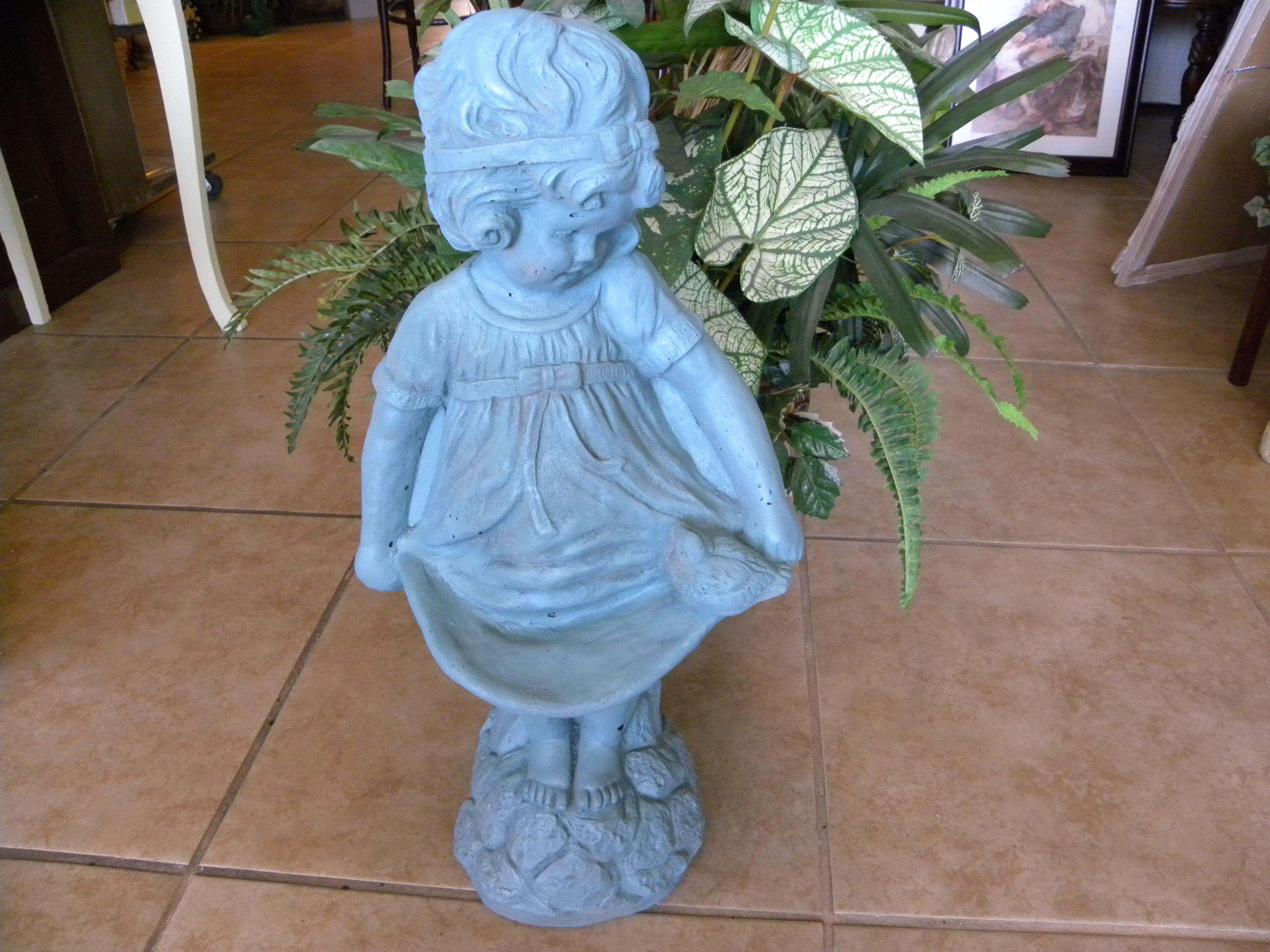 Garden decor statues  cute garden girl statue in green girl statue green garden decor