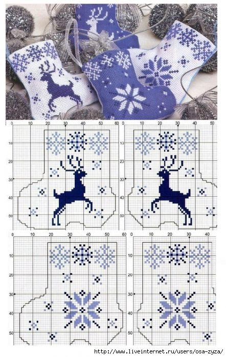 Cross Stitch Reindeer and Snowflake Mini Stocking Ornaments