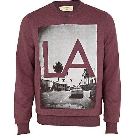 red berry la print sweatshirt - sweatshirts - hoodies / sweatshirts - men -  River Island By Nayia Ginn