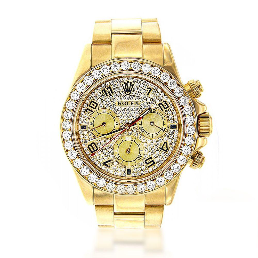 Men's Diamond Watches: 18K Yellow Gold Rolex Cosmograph ...