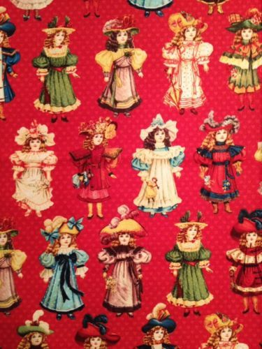 BH03-Victorian-Vintage-Girls-Paper-Dolls-Toys-Retro-Cotton-Fabric-Quilt-Fabric
