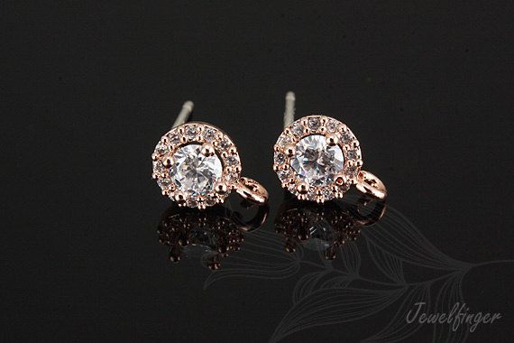Hey, I found this really awesome Etsy listing at https://www.etsy.com/listing/173469066/c1006-10-pairs-pink-gold-plated-cz-6mm