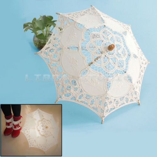 Ivory Chic Handmade Cotton Lace Parasol Umbrella Party Wedding Bridal Decoration   eBay
